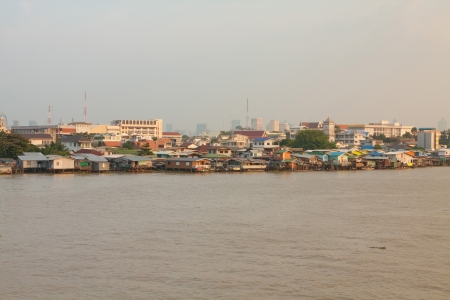 phraya: Chao Phraya river on sunset in Bangkok, Thailand Stock Photo