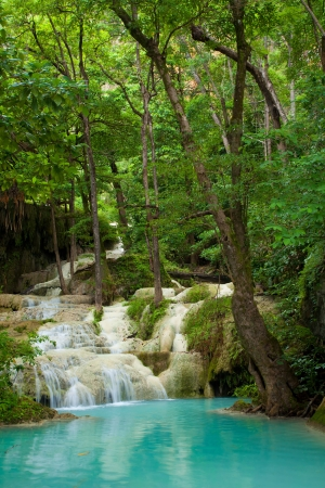 forest stream: Eravan Waterfall in Kanchanaburi, Thailand