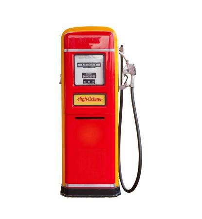 red vintage gasoline pump over white background