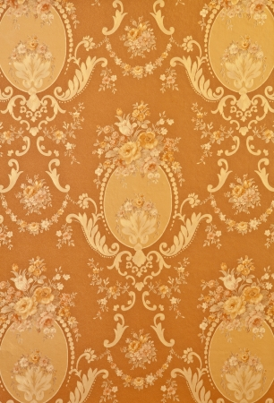 royal wedding: Abstract vintage gold flower on wall background