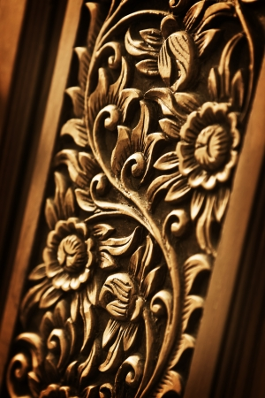 Pattern of flower carved on wood background Stock Photo - 16232269