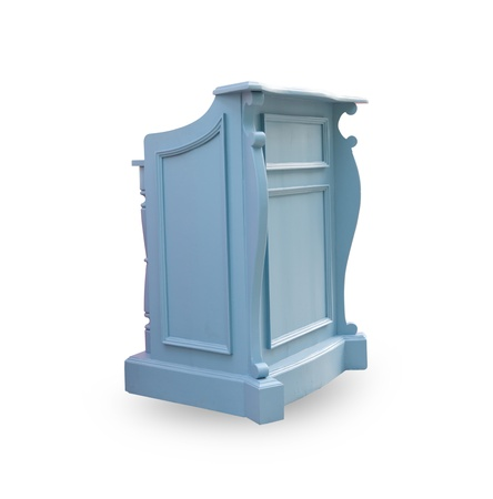 debate win: blue podium isolated on the white background