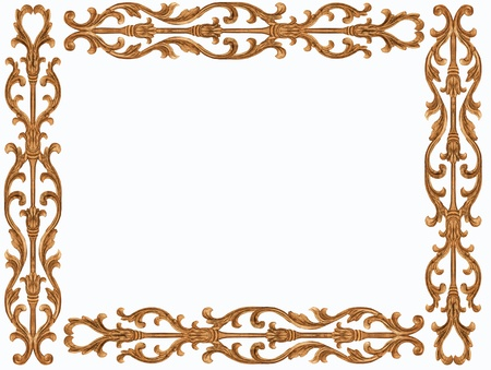 Pattern of flower carved frame on white background 스톡 콘텐츠