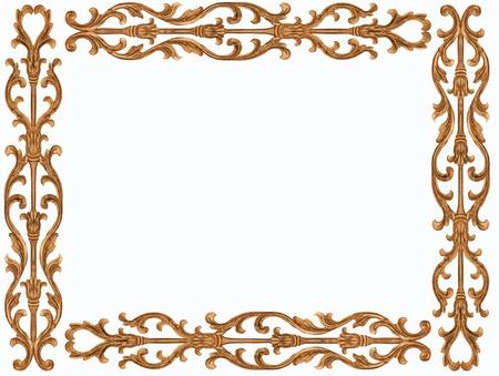 Pattern of flower carved frame on white background Banque d'images