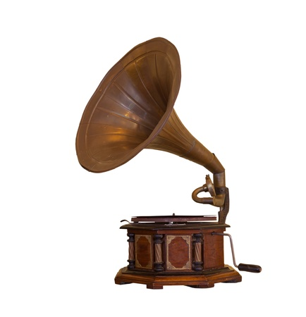 phonograph: retro old gramophone isolated on white background