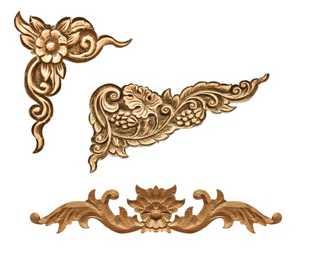 and craft materials: Pattern of wood frame carve flower on white background