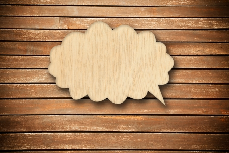 Retro speech bubbles from wood on wood background photo