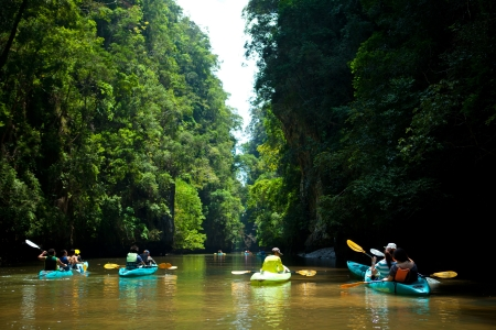 kayaks on the river south of Thailand photo