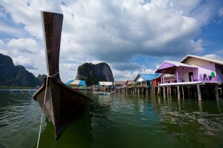 fischerei: Fischerdorf, an der Küste von Thailand