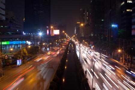 time lapse: Night traffic lights in the Bangkok, Thailand