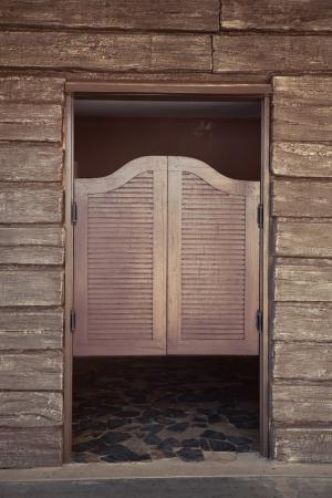 old bar: old wood doors of old western building