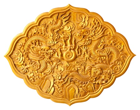 Pattern Golden dragon carved on white background photo