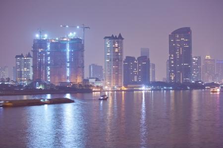 Chao Phraya river and city at Dusk of Bangkok, Thailand Stock Photo - 17984743