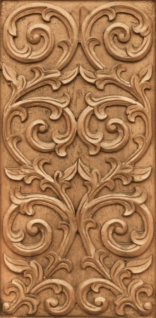 and craft materials: Pattern of flower carved on wood background