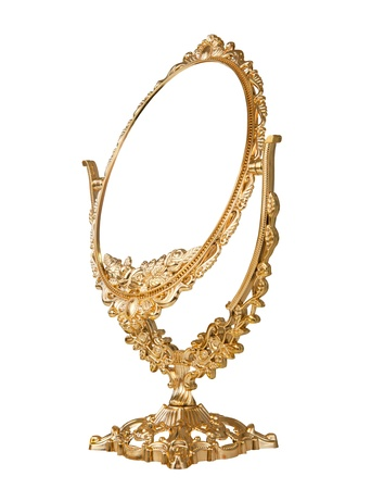 Antique baroque brass gold frame and mirror isolated on white background