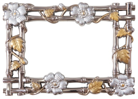 antique flower silver and gold frame isolated on white photo