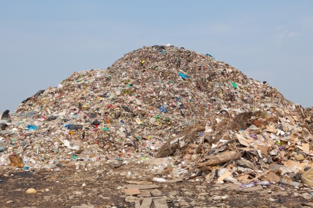 Garbage at a rubbish dump in a landfill site, pollution, Global warming Imagens