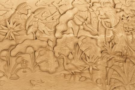バリ島、インドネシアの木材に刻まれた自然のパターン