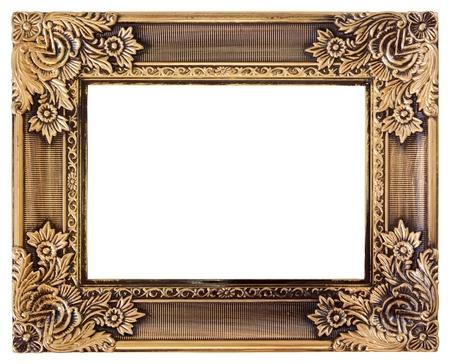 Baroque picture frame: antique cadre dor� amour isol� sur blanc