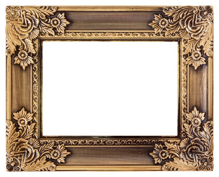 wedding photo frame: antique love gold frame isolated on white