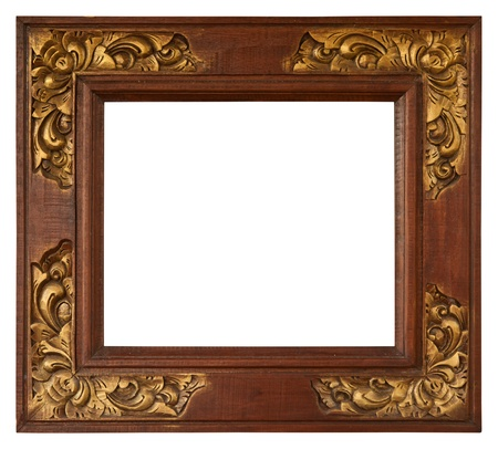 Bali antique gold frame isolated on white Stock Photo - 18851177