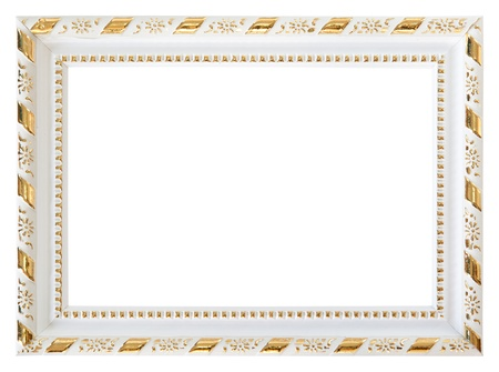 Gold wood white frame isolated on white background photo