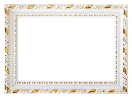 spiegelbeeld: Goud wit hout frame geïsoleerd op een witte achtergrond