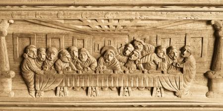 santa cena: Modelo de la Última Cena tallado en madera
