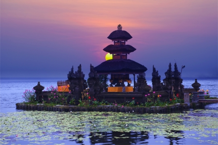 Pura Ulun Danu Bratan temple on Bali, Indonesia photo