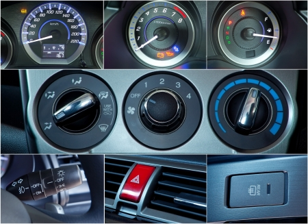Close up of Car interior details collage photo
