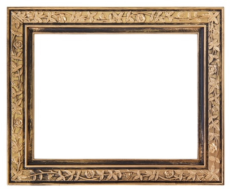 baroque picture frame: Gold frame isolated on white background