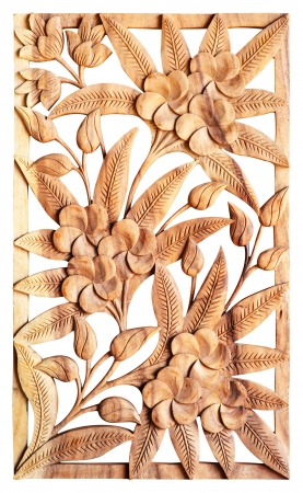Pattern of flower carved isolated on wood background Stock Photo - 19541350