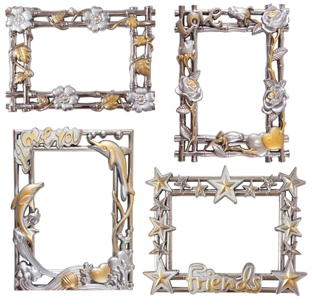 antique flower silver and gold frame isolated collection photo