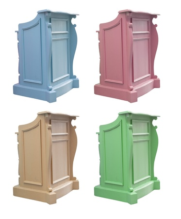 debate win: podium isolated collection on the white background