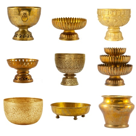 Old antique vintage bronze collection, brass bowl, isolated on white background photo
