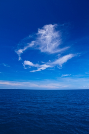 Beautiful blue sky with cloud  and blue ocean photo