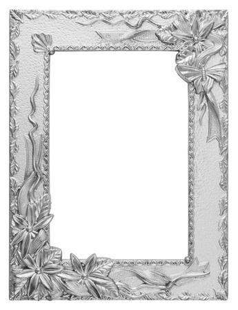 wedding photo frame: antico amore cornice d'argento isolato su bianco Archivio Fotografico