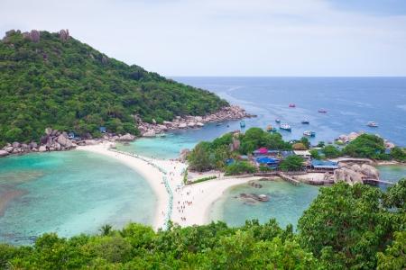 nang: top view of tropical beach in Koh Nang Yuan, Thailand