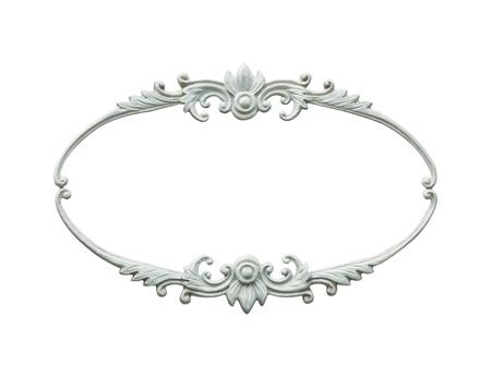 ovalo: marco de madera ovalada tallada aislado en fondo blanco