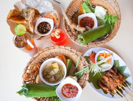 Bali traditional food, chicken, fish, vegetables Stock Photo