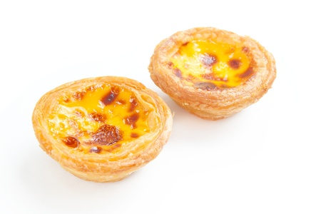delicious portuguese egg tart isolated on white background 스톡 콘텐츠