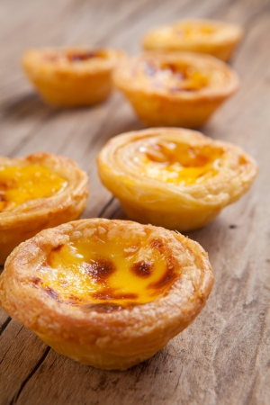 delicious portuguese egg tart on wood background Stock Photo