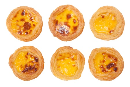 delicious portuguese egg tart isolated on white background photo