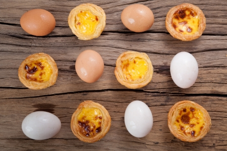 delicious portuguese egg tart on wood background photo