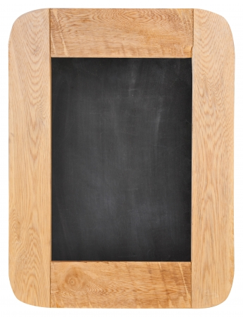 Old chalk board with wood frame isolated on white background photo