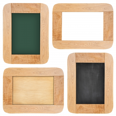 Collection of Old chalk board with wood frame isolated on white background photo