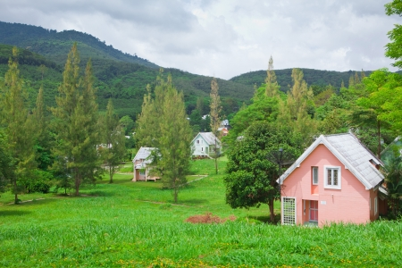 Beautiful landscape of small village and mountain