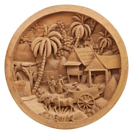 Patrón de la cultura tallado en la madera
