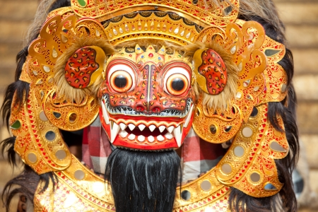BALI, INDONESIA - MARCH 16: Bali mask during a classic national Balinese dance Barong on March 16, 2013 on Bali, Indonesia. Barong is very popular cultural show on Bali. Editorial