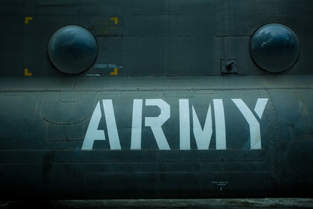 military aircraft: Text on an old war Airplane Stock Photo